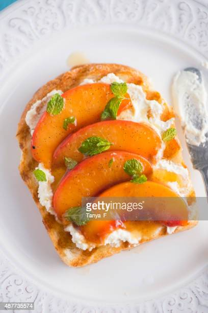 Toast with Goat Creem Cheese and Poached Nectarine