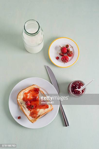 Toast with strawberry jam, jam, strawberries, milk bottle