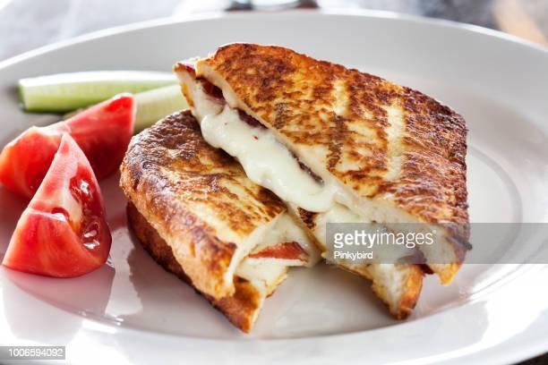 Toast with tomato and mozzarella,Toasted Bread