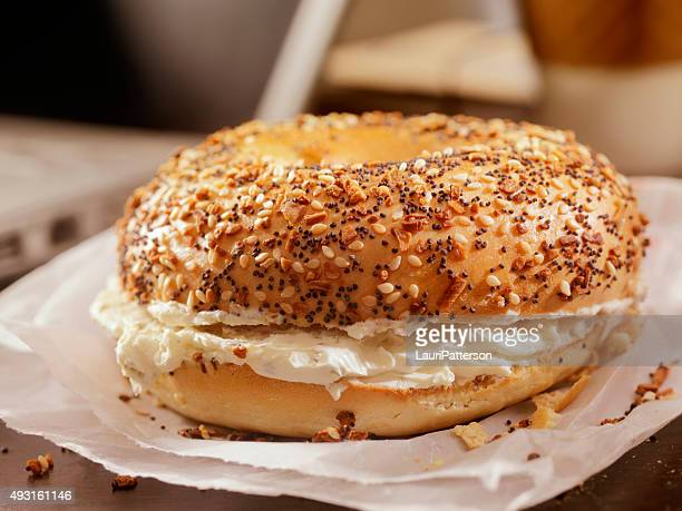 Toasted Bagel with Cream Cheese at your Desk