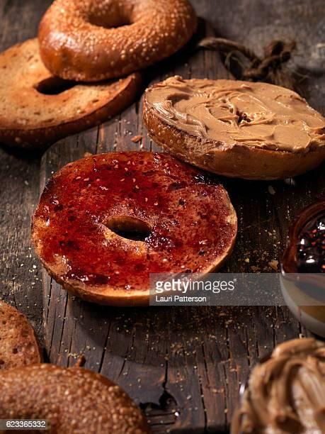 Toasted Bagels with Peanut Butter and Jam