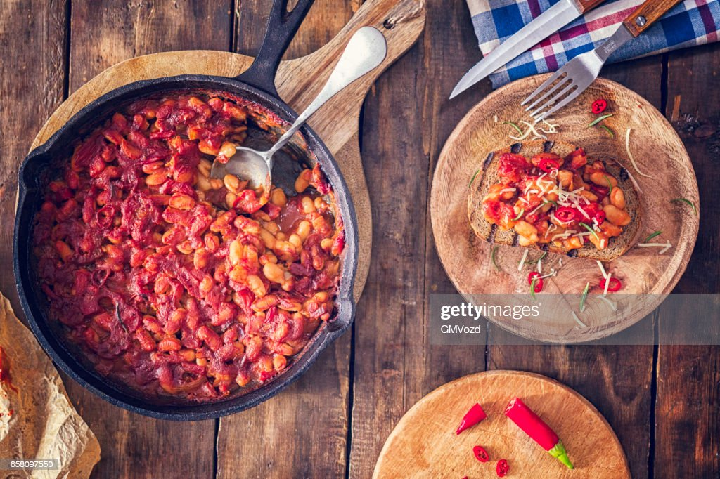 Toasted Bread with Baked Beans : Stock Photo