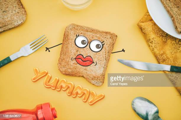 toasted bread with google eyes - google stock pictures, royalty-free photos & images