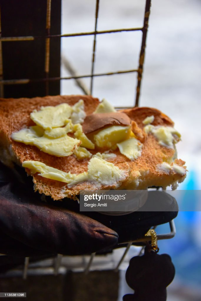 Toasted bread with Hokkaido butter : Stock Photo