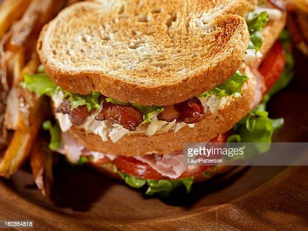 toasted club sandwich with french fries - club sandwich stock pictures, royalty-free photos & images