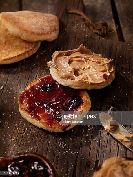 Toasted English Muffin with Peanut Butter and Jam