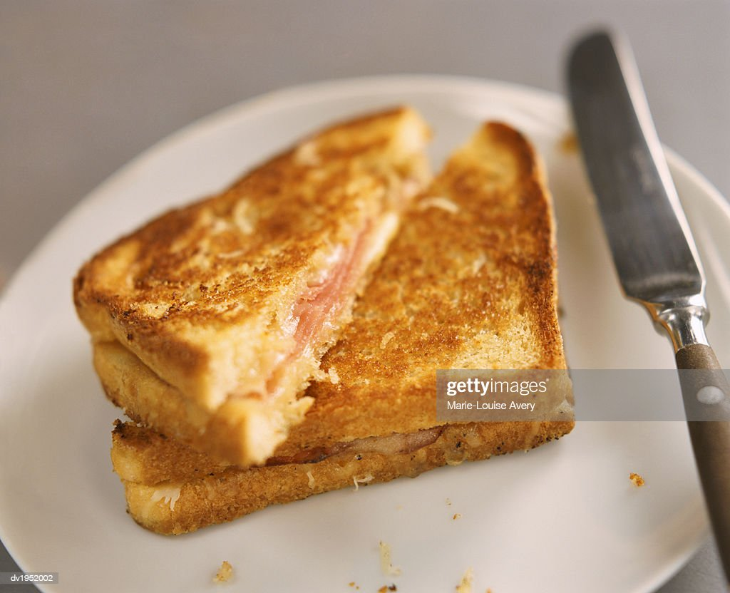 Toasted Ham and Cheese Sandwich on a Plate : Stock Photo