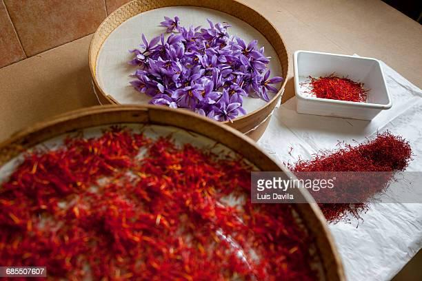 toasted saffron stigmas. madridejos. spain
