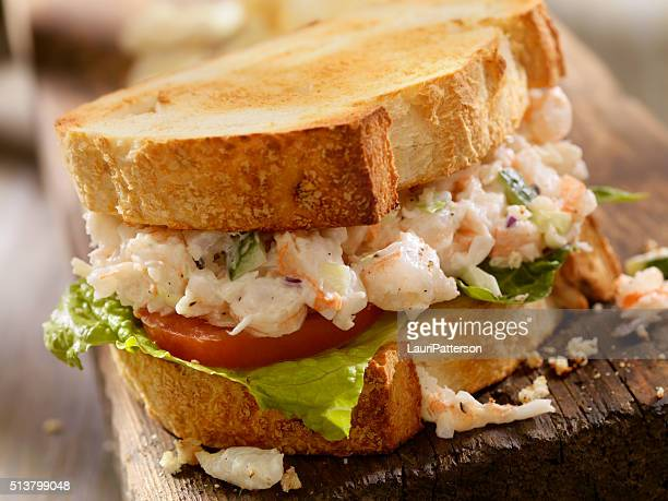 toasted seafood salad sandwich - crab stock photos and pictures