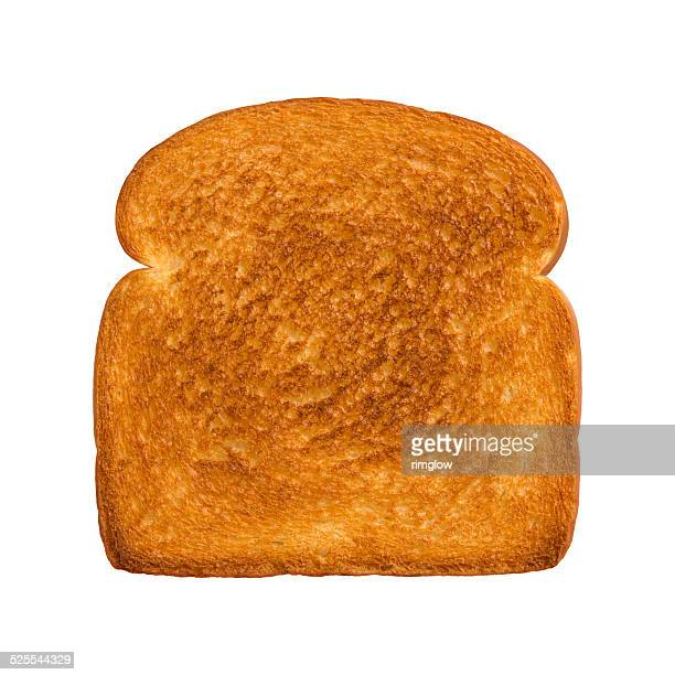Aerial view of a single slice of toasted white bread. The subject is isolated on a white background and was shot with a Canon EOS-1 Ds Mark II.