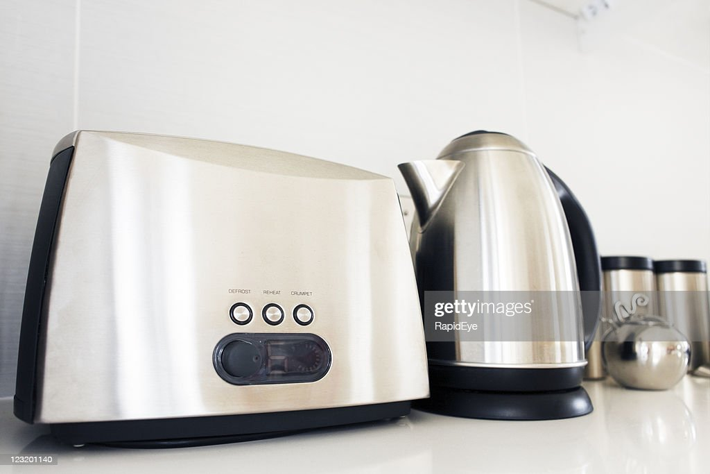 Toaster, kettle and jars in brushed stainless steel : Stock Photo