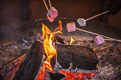 Toasting a marshmallow over an open flame at Christmas market winter wonderland in London