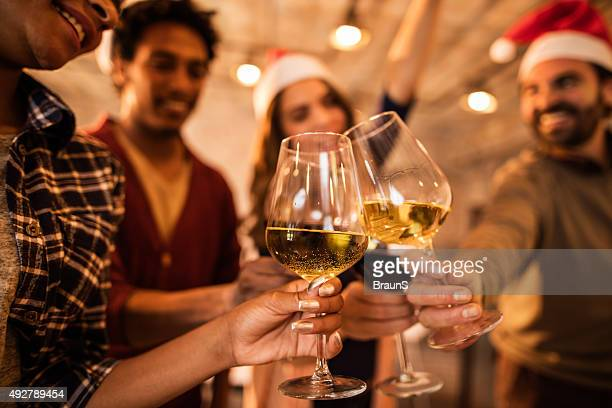 toasting for upcoming business achievements in new year! - work party stock pictures, royalty-free photos & images