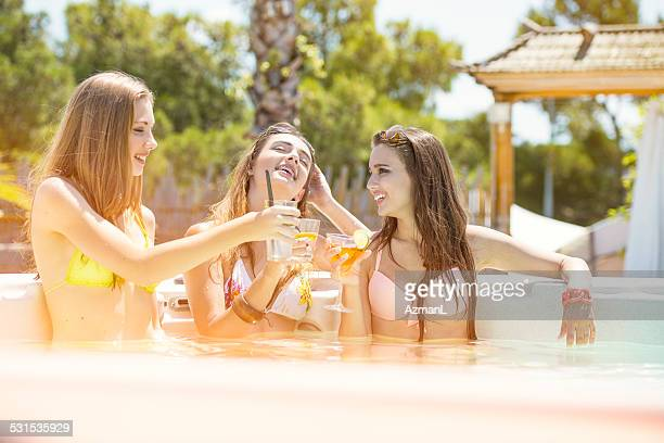 Toasting in a Hot Tub