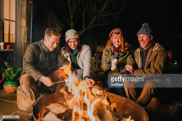 toasting marshmallows by the fire - fire pit stock pictures, royalty-free photos & images