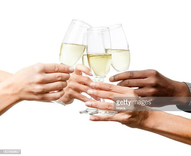 Toasting, three women and a man hands