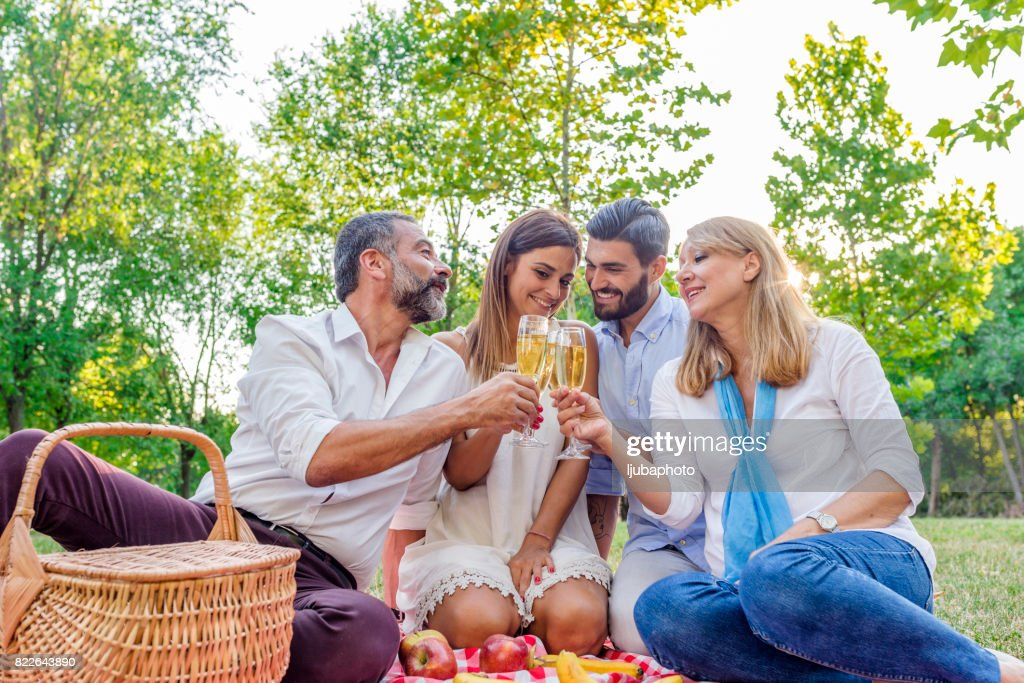 Toasting to family : Stock Photo