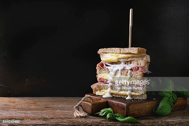 toasts with cheese and ham - mayonnaise stock pictures, royalty-free photos & images