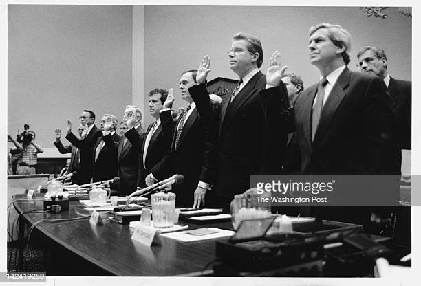 Tobacco executives from left Robert Sprinkle III of Research American Tobacco Donald S Johnston American Tobacco Thomas E Sandefur Jr Brown...