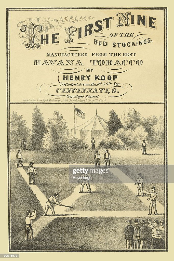 tobacco package label showing baseball players on the field during game, view from behind home plate, with spectators along first base line.