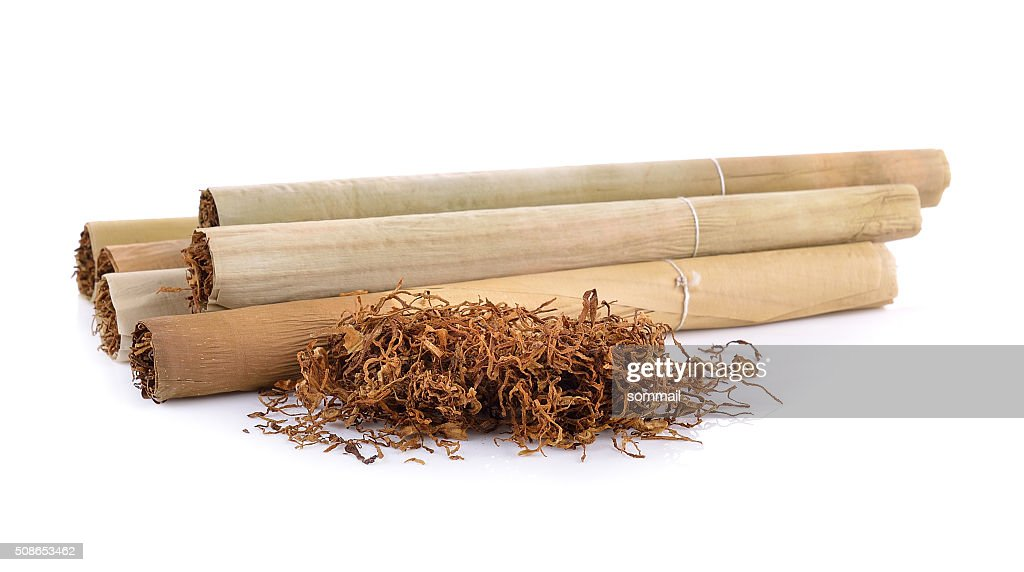 Tobacco pile and cigarette : Stock Photo