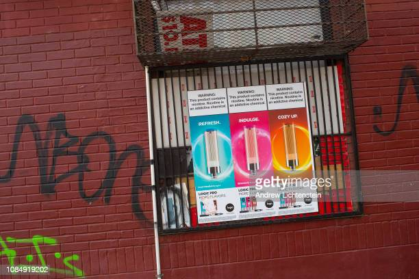 Tobacco shop half a block away from the largest high school in New York actively sells Juuling products on December 19, 2018 in the Fort Greene...