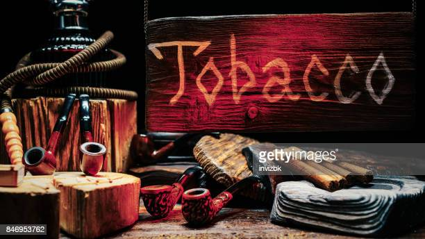 tobacco shop wood sign - hookah stock photos and pictures