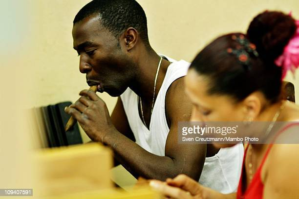 A tobacco worker moistens the tip of a cigar in the Partagas cigar factory in Old Havana during the 13th Habanos Festival on February 24 2011 in...