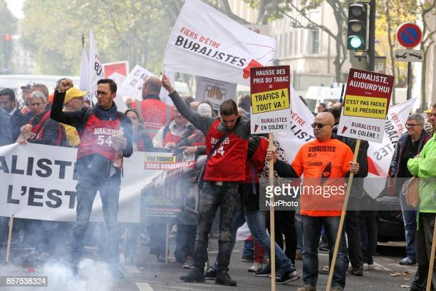 Tobacconists demonstrate against the increase to 10 euros of the price of a packet of cigarettes scheduled by the government for 2020 on October 4...