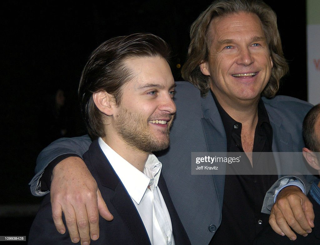 Tobey Maguire and Jeff Bridges during Seabiscuit DVD Launch - Arrivals at The Polo Lounge at the Beverly Hills Hotel in Beverly Hills, California, United States.