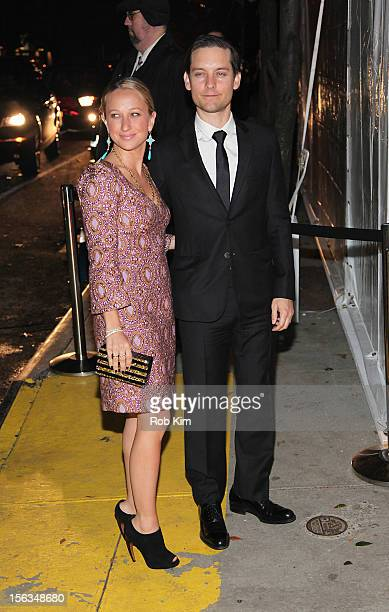 Tobey Maguire and Jennifer Meyer arrive at The Ninth Annual CFDA/Vogue Fashion Fund Awards at 548 West 22nd Street on November 13 2012 in New York...