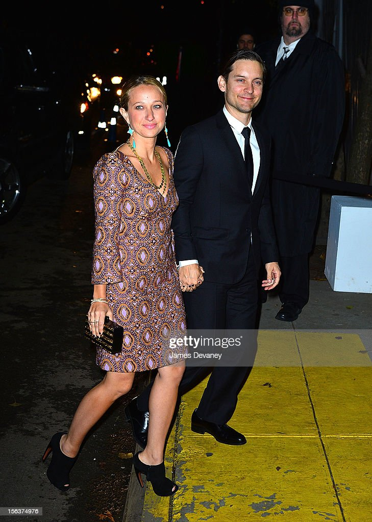 Tobey Maguire and Jennifer Meyer (L) attend The Ninth Annual CFDA/Vogue Fashion Fund Awards at 548 West 22nd Street on November 13, 2012 in New York City.