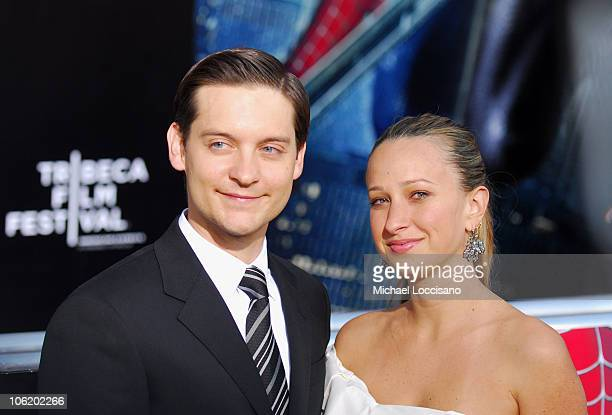Tobey Maguire and Jennifer Meyer during 'SpiderMan 3' US Premiere at the Tribeca Film Festival at UA Kaufman Astoria Cinema 14 in Queens New York...