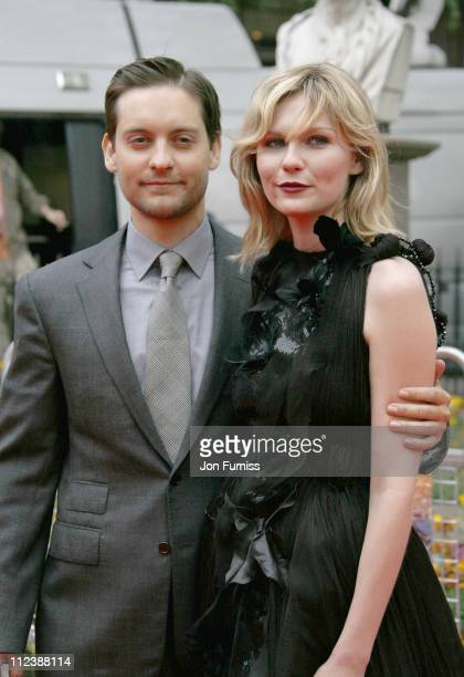 Tobey Maguire and Kirsten Dunst during SpiderMan 3 London Premiere Inside Arrivals at Odeon Leicester Square in London United Kingdom