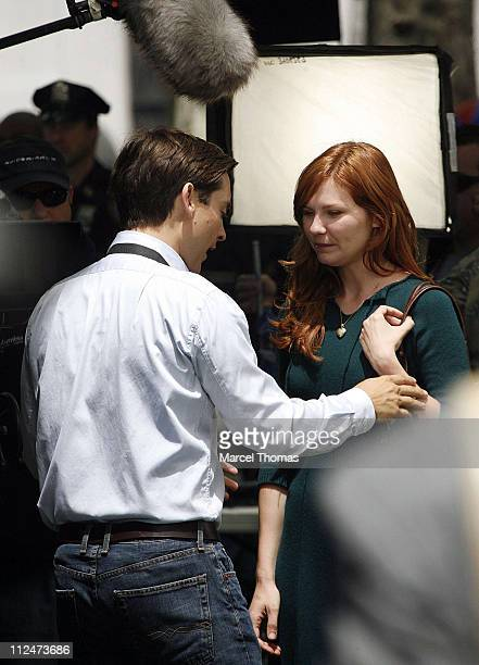 Tobey Maguire and Kirsten Dunst on the set of SpiderMan 3 on location in Foley Square lower Manhattan June 10 2006