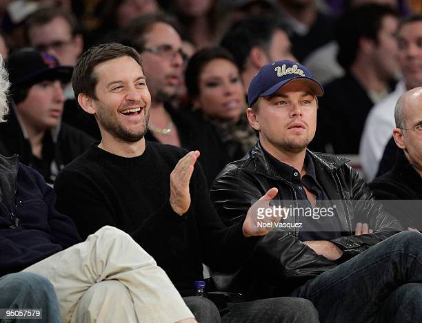 Tobey Maguire and Leonardo DiCaprio attend a game between the Oklahoma City Thunder and the Los Angeles Lakers at Staples Center on December 22 2009...