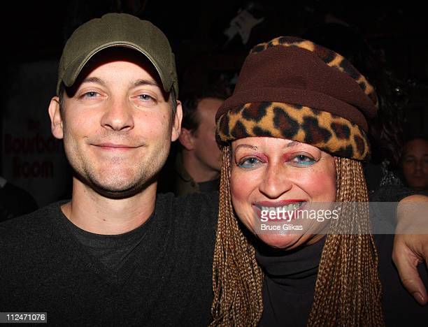 Tobey Maguire and Michele Mais pose backstage at Rock of Ages off Broadway at New World Stages on January 5 2009 in New York City