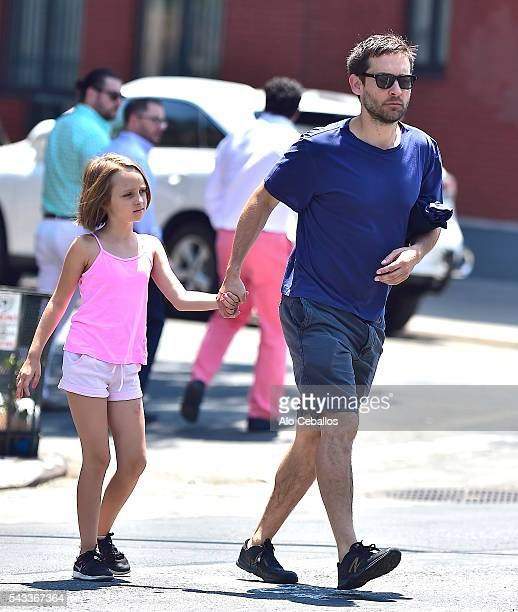 Tobey Maguire and Ruby Sweetheart Maguire are seen in Soho on June 27 2016 in New York City