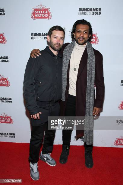 Tobey Maguire and Utkarsh Ambudkar attend the new SHOWTIME Docuseries WuTang Clan Of Mics Men celebration at Stella's Film Lounge during the 2019...