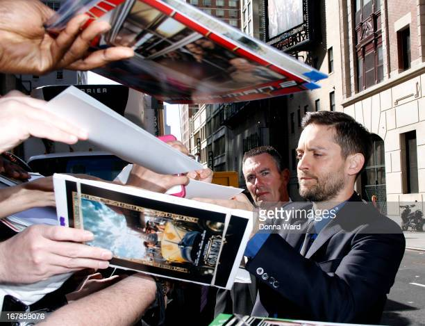 Tobey Maguire arrives for the 'Late Show with David Letterman' at Ed Sullivan Theater on May 1 2013 in New York City