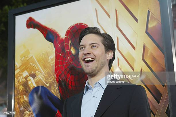 Tobey Maguire arrives for the premiere of 'Spider Man' at the Mann Village in Westwood, Ca., April 29, 2002. Photo by Kevin Winter/ImageDirect