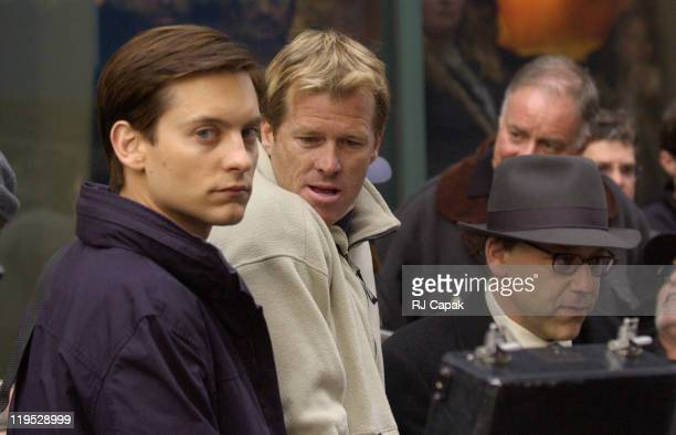 Tobey Maguire Director Sam Raimi during Filming of 'SpiderMan 2' on Location in Lower Manhattan at Lower Manhattan in New York City New York United...