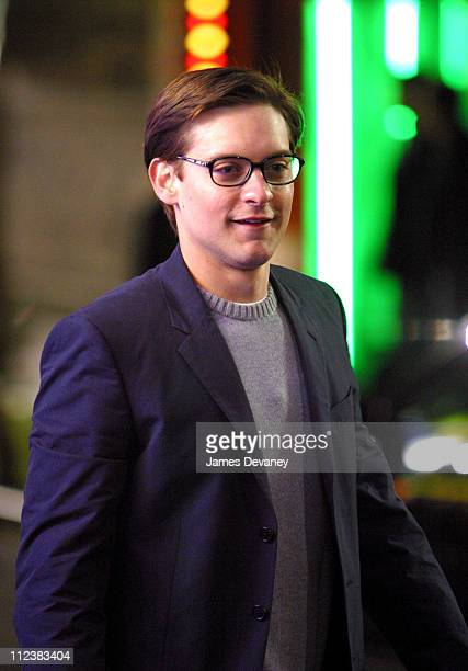 Tobey Maguire during Filming of 'SpiderMan 2' on Location at Queens in New York City New York United States