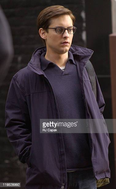 Tobey Maguire during Filming of 'SpiderMan 2' on Location in Lower Manhattan at Lower Manhattan in New York City New York United States