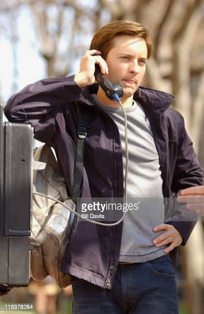 Tobey Maguire during On Location for SpiderMan 2 April 12 2003 at Upper Manhattan in New York New York United States