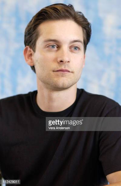 Tobey Maguire during 'Seabiscuit' Press Conference with Tobey Maguire William H Macy Jeff Bridges Chris Cooper and Gary Ross at Santa Anita Racetrack...