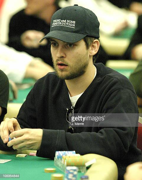 Tobey Maguire during The 2004 World Poker Tour Invitational at The Commerce Casino in Los Angeles California United States
