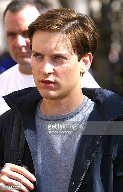 Tobey Maguire during Tobey Maguire on Location for SpiderMan 2 at Manhattan in New York City New York United States