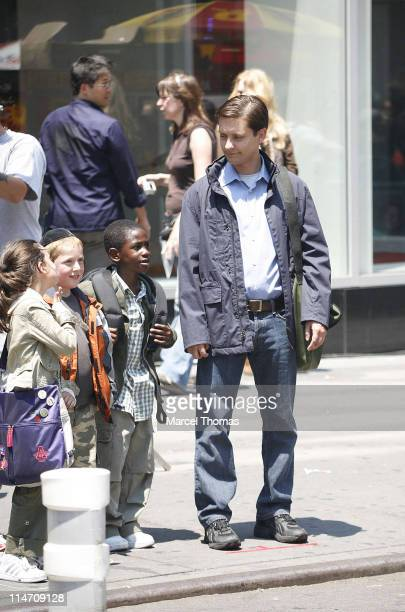 Tobey Maguire during Tobey Maguire on Set of SpiderMan 3 June 18 2006 at Midtown Manhattan in New York City New York United States