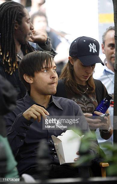 Tobey Maguire during Tobey Maguire on the Set of SpiderMan 3 May 26 2006 in New York City New York United States